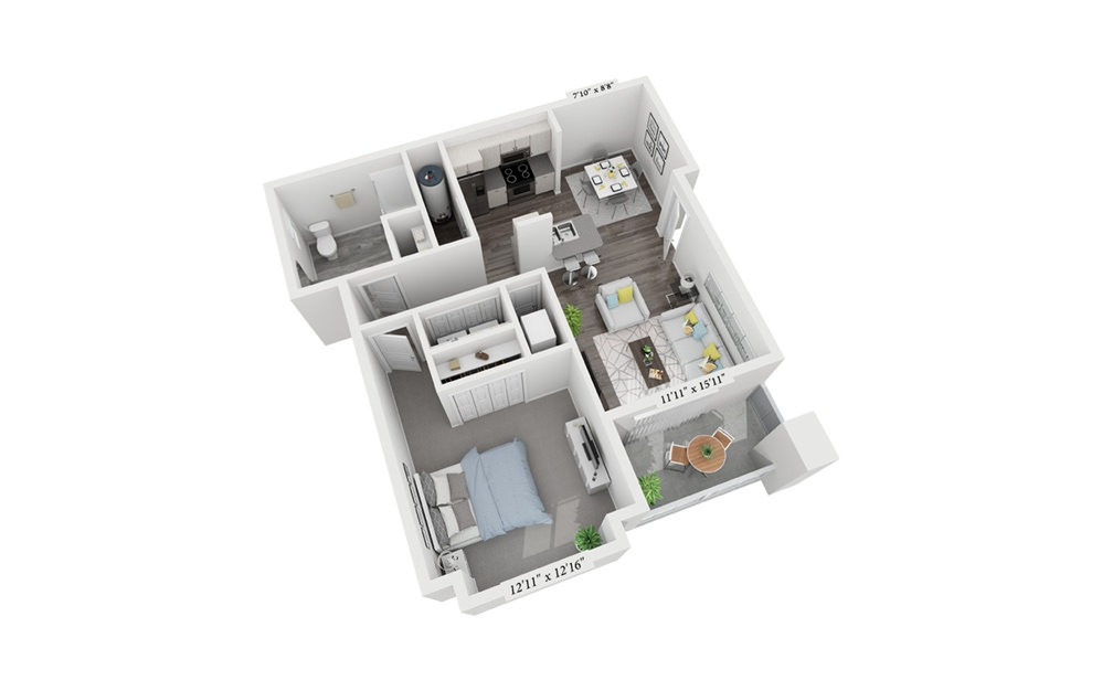 1 Bedroom 1 Bath - 1 bedroom floorplan layout with 1 bath and 781 square feet (1st floor 2D)