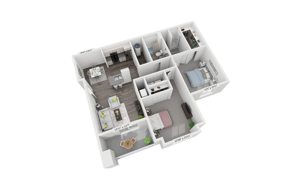 2 Bedroom 2 Bath - 2 bedroom floorplan layout with 2 bath and 1011 square feet (1st floor 2D)