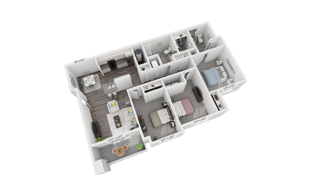 3 Bedroom 2 Bath - 3 bedroom floorplan layout with 2 bath and 1222 square feet (1st floor 2D)